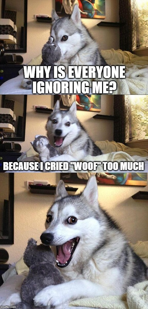 "Bad Pun Dog Meme | WHY IS EVERYONE IGNORING ME? BECAUSE I CRIED ""WOOF"" TOO MUCH 