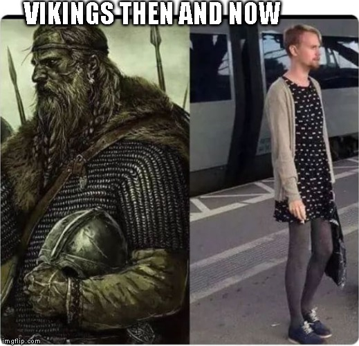 Males today | VIKINGS THEN AND NOW | image tagged in males today,gay,vikings | made w/ Imgflip meme maker