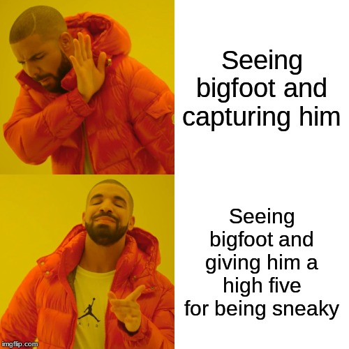 Drake Hotline Bling Meme | Seeing bigfoot and capturing him Seeing bigfoot and giving him a high five for being sneaky | image tagged in memes,drake hotline bling | made w/ Imgflip meme maker