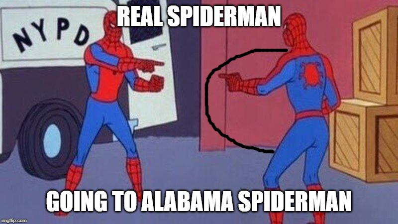 spiderman pointing at spiderman | REAL SPIDERMAN GOING TO ALABAMA SPIDERMAN | image tagged in spiderman pointing at spiderman,dorian,alabama | made w/ Imgflip meme maker