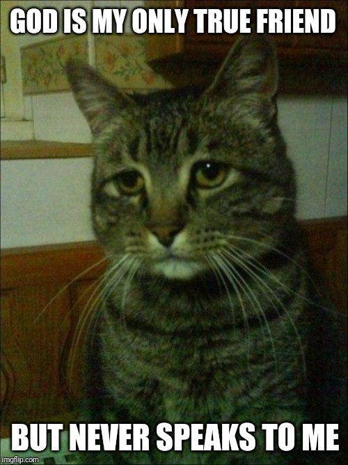 Depressed Cat Meme |  GOD IS MY ONLY TRUE FRIEND; BUT NEVER SPEAKS TO ME | image tagged in memes,depressed cat | made w/ Imgflip meme maker