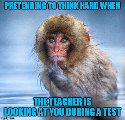 PRETENDING TO THINK HARD WHEN; THE TEACHER IS LOOKING AT YOU DURING A TEST | image tagged in test,teacher,thinking,pretend | made w/ Imgflip meme maker