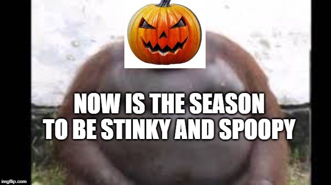 Spoopy Stinky LALALALALALALA | NOW IS THE SEASON TO BE STINKY AND SPOOPY | image tagged in halloween,spooky,spoopy,stinky,stink | made w/ Imgflip meme maker