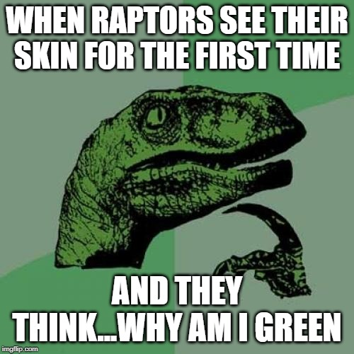 Philosoraptor Meme | WHEN RAPTORS SEE THEIR SKIN FOR THE FIRST TIME AND THEY THINK...WHY AM I GREEN | image tagged in memes,philosoraptor | made w/ Imgflip meme maker