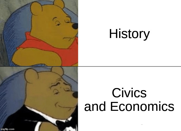 Tuxedo Winnie The Pooh Meme | History Civics and Economics | image tagged in memes,tuxedo winnie the pooh | made w/ Imgflip meme maker