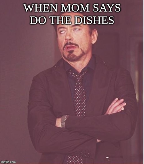 Face You Make Robert Downey Jr Meme | WHEN MOM SAYS DO THE DISHES | image tagged in memes,face you make robert downey jr | made w/ Imgflip meme maker