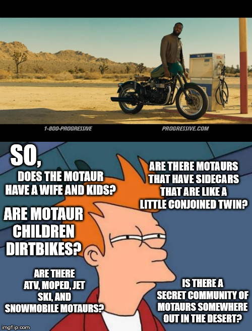 Important questions | SO, DOES THE MOTAUR HAVE A WIFE AND KIDS? ARE MOTAUR CHILDREN DIRTBIKES? ARE THERE ATV, MOPED, JET SKI, AND SNOWMOBILE MOTAURS? ARE THERE MO | image tagged in memes,futurama fry,motorcycle,commercials,progressive,questions | made w/ Imgflip meme maker