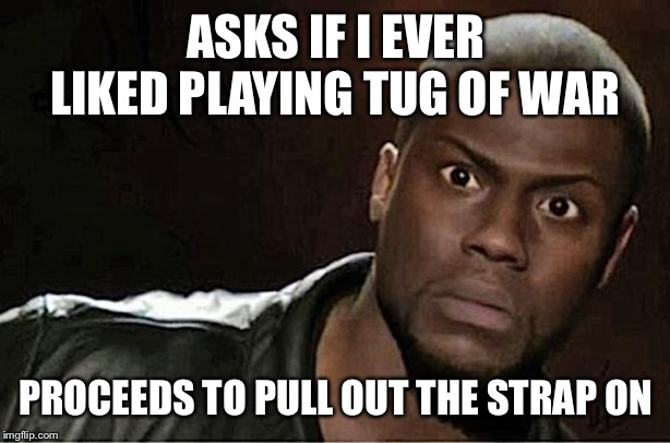 Kevin Hart Meme | ASKS IF I EVER LIKED PLAYING TUG OF WAR PROCEEDS TO PULL OUT THE STRAP ON | image tagged in memes,kevin hart | made w/ Imgflip meme maker