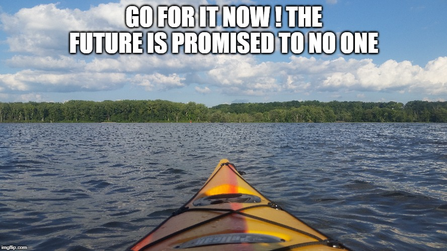Go For it | GO FOR IT NOW ! THE FUTURE IS PROMISED TO NO ONE | image tagged in go for it | made w/ Imgflip meme maker