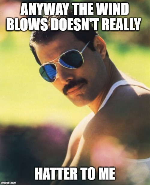 Freddie Mercury Mr. Bad Guy | ANYWAY THE WIND BLOWS DOESN'T REALLY HATTER TO ME | image tagged in freddie mercury mr bad guy | made w/ Imgflip meme maker