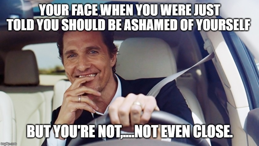 matthew mcconaughey |  YOUR FACE WHEN YOU WERE JUST TOLD YOU SHOULD BE ASHAMED OF YOURSELF; BUT YOU'RE NOT,....NOT EVEN CLOSE. | image tagged in matthew mcconaughey | made w/ Imgflip meme maker