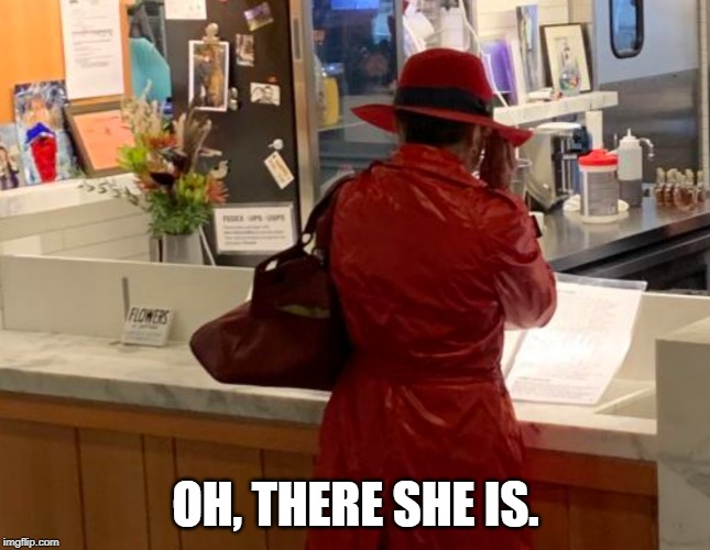 We've been asking since the 80s... | OH, THERE SHE IS. | image tagged in memes,funny,carmen sandiego,costume,woman,red | made w/ Imgflip meme maker