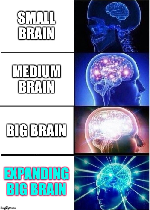 Expanding Brain Meme | SMALL BRAIN MEDIUM BRAIN BIG BRAIN EXPANDING BIG BRAIN | image tagged in memes,expanding brain | made w/ Imgflip meme maker