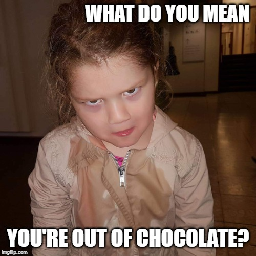 What do you mean | WHAT DO YOU MEAN YOU'RE OUT OF CHOCOLATE? | image tagged in what do you mean | made w/ Imgflip meme maker