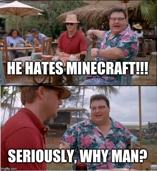 See Nobody Cares | HE HATES MINECRAFT!!! SERIOUSLY, WHY MAN? | image tagged in memes,see nobody cares | made w/ Imgflip meme maker