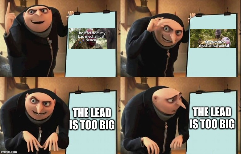 Despicable Me Diabolical Plan Gru Template |  THE LEAD IS TOO BIG; THE LEAD IS TOO BIG | image tagged in despicable me diabolical plan gru template | made w/ Imgflip meme maker