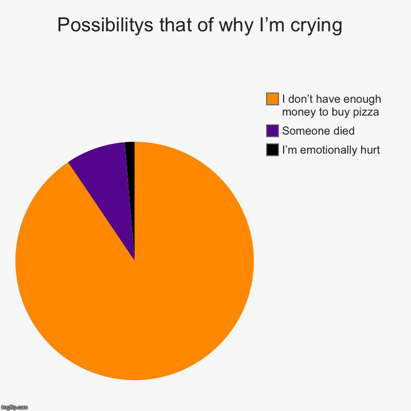 Possibilitys that of why I'm crying  | I'm emotionally hurt, Someone died, I don't have enough money to buy pizza | image tagged in charts,pie charts | made w/ Imgflip chart maker