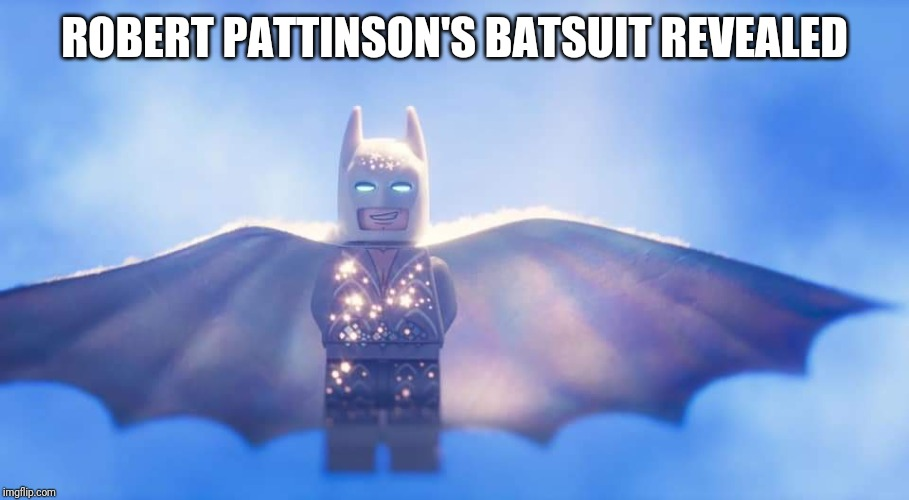 ROBERT PATTINSON'S BATSUIT REVEALED | image tagged in robert pattinson,lego batman | made w/ Imgflip meme maker