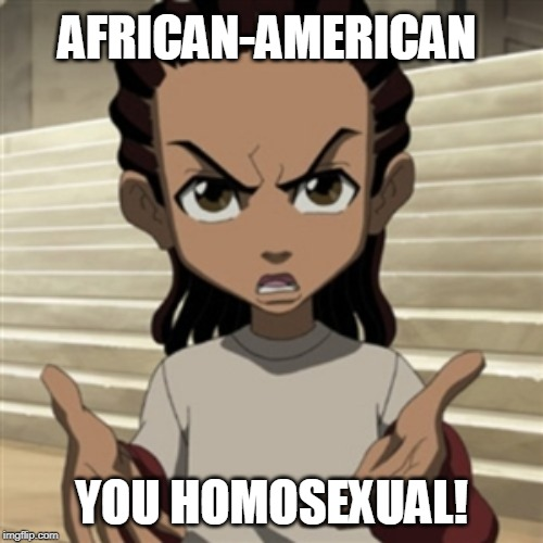Riley freeman |  AFRICAN-AMERICAN; YOU HOMOSEXUAL! | image tagged in riley freeman | made w/ Imgflip meme maker
