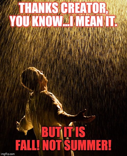 raining intensifies | THANKS CREATOR, YOU KNOW...I MEAN IT. BUT IT IS FALL! NOT SUMMER! | image tagged in raining intensifies | made w/ Imgflip meme maker