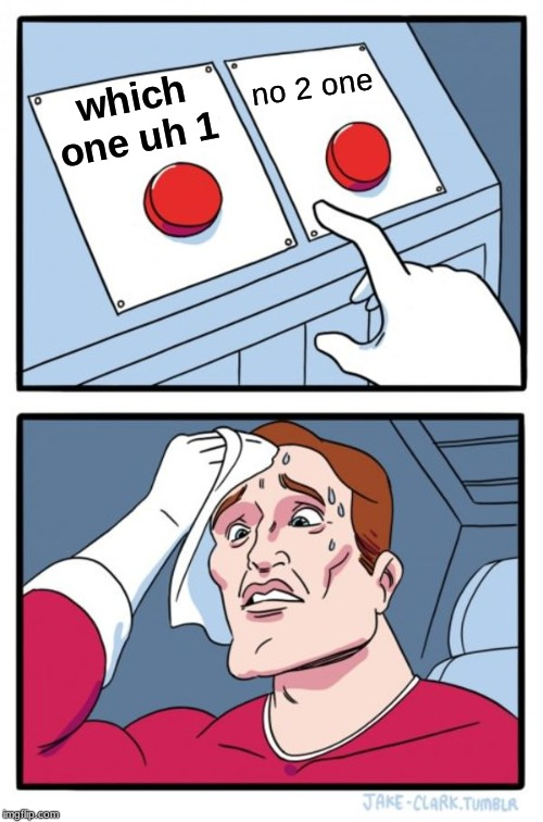 Two Buttons Meme | which one uh 1 no 2 one | image tagged in memes,two buttons | made w/ Imgflip meme maker