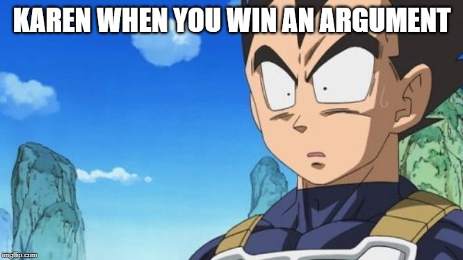 Surprized Vegeta | KAREN WHEN YOU WIN AN ARGUMENT | image tagged in memes,surprized vegeta | made w/ Imgflip meme maker