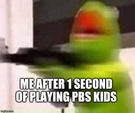 school shooter (muppet) | ME AFTER 1 SECOND OF PLAYING PBS KIDS | image tagged in school shooter muppet | made w/ Imgflip meme maker