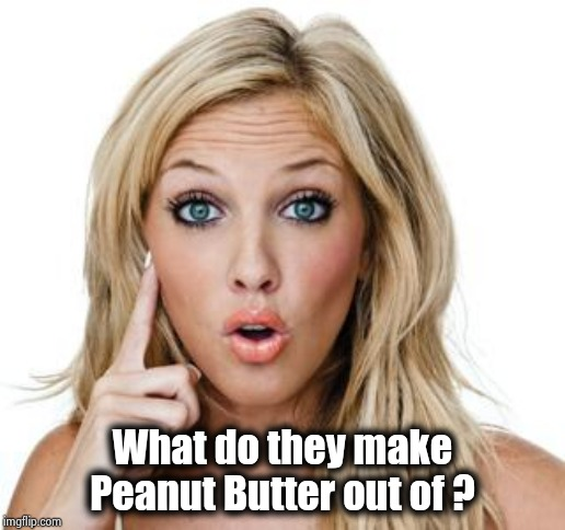 Dumb blonde | What do they make Peanut Butter out of ? | image tagged in dumb blonde | made w/ Imgflip meme maker