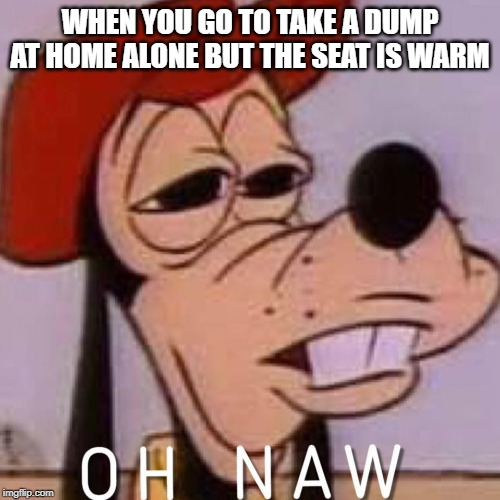 Oh Sh*t | WHEN YOU GO TO TAKE A DUMP AT HOME ALONE BUT THE SEAT IS WARM | image tagged in oh naw,funny,memes,front page,hopefully | made w/ Imgflip meme maker