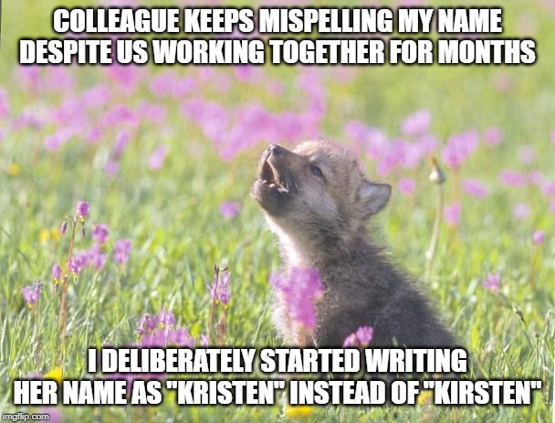 "Baby Insanity Wolf Meme |  COLLEAGUE KEEPS MISPELLING MY NAME DESPITE US WORKING TOGETHER FOR MONTHS; I DELIBERATELY STARTED WRITING HER NAME AS ""KRISTEN"" INSTEAD OF ""KIRSTEN"" 