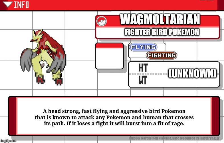 Made by me and fused by me | WAGMOLTARIAN FIGHTER BIRD POKEMON A head strong, fast flying and aggressive bird Pokemon that is known to attack any Pokemon and human that  | image tagged in imgflip username pokedex | made w/ Imgflip meme maker