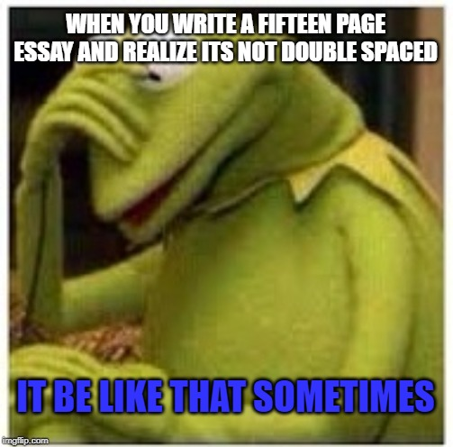 essay | WHEN YOU WRITE A FIFTEEN PAGE ESSAY AND REALIZE ITS NOT DOUBLE SPACED IT BE LIKE THAT SOMETIMES | image tagged in kermit face palm,it be like that,essays | made w/ Imgflip meme maker