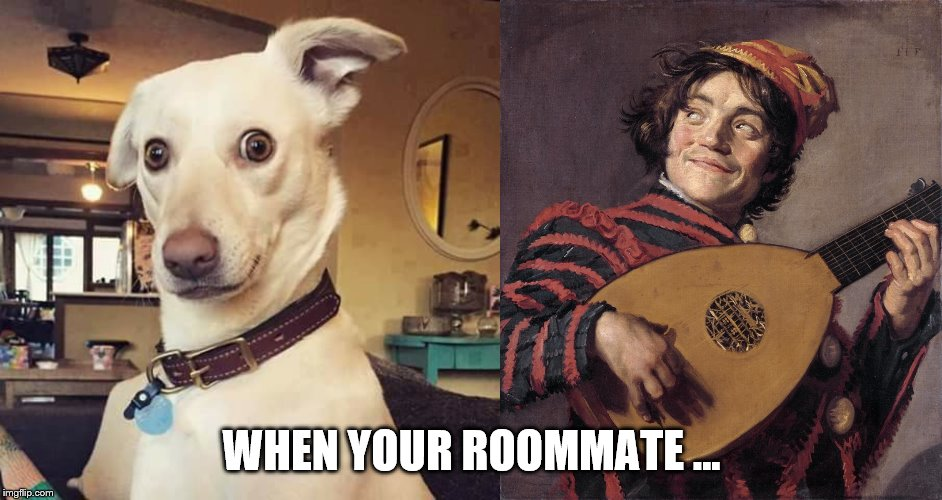 music stuff | WHEN YOUR ROOMMATE ... | image tagged in music | made w/ Imgflip meme maker