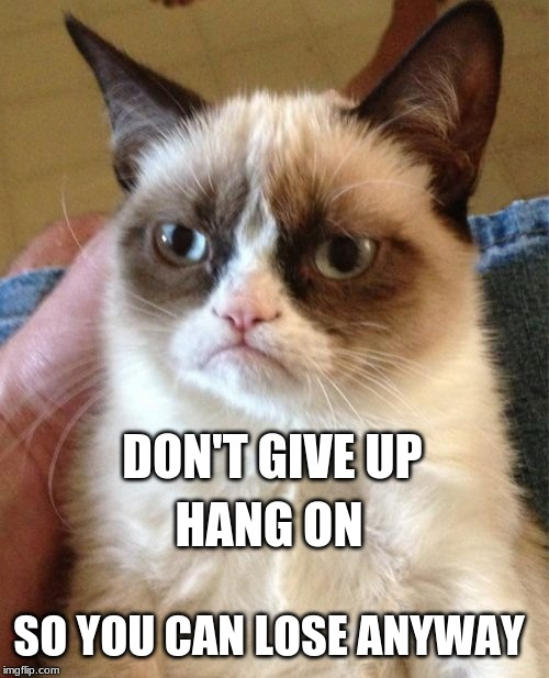 Grumpy Cat | DON'T GIVE UP SO YOU CAN LOSE ANYWAY HANG ON | image tagged in memes,grumpy cat,demotivationals,depression,reality,expectation vs reality | made w/ Imgflip meme maker