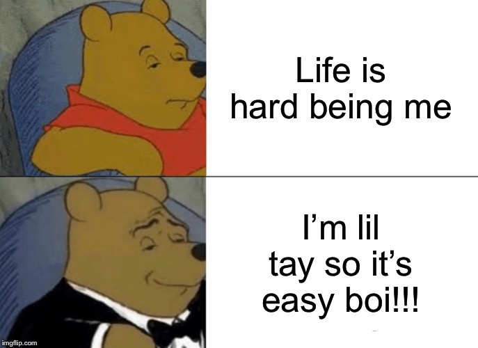 Tuxedo Winnie The Pooh Meme | Life is hard being me I'm lil tay so it's easy boi!!! | image tagged in memes,tuxedo winnie the pooh | made w/ Imgflip meme maker
