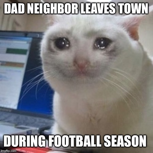 Crying cat | DAD NEIGHBOR LEAVES TOWN DURING FOOTBALL SEASON | image tagged in crying cat,dad joke | made w/ Imgflip meme maker