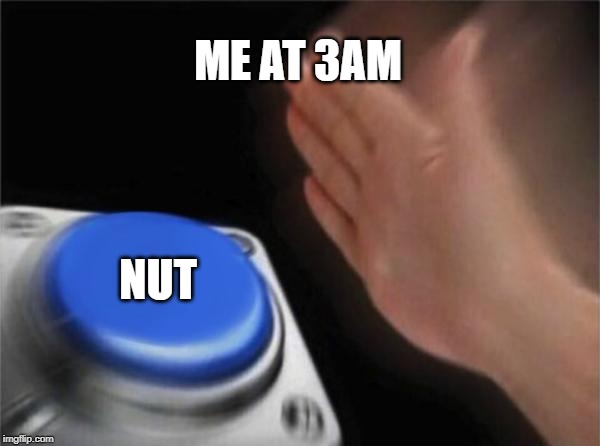 Blank Nut Button Meme | ME AT 3AM NUT | image tagged in memes,blank nut button | made w/ Imgflip meme maker