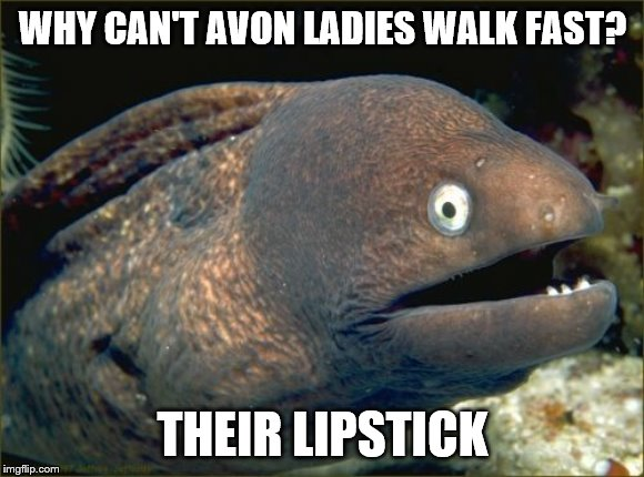 Bad Joke Eel Meme | WHY CAN'T AVON LADIES WALK FAST? THEIR LIPSTICK | image tagged in memes,bad joke eel,jokes,makeup,innuendo | made w/ Imgflip meme maker