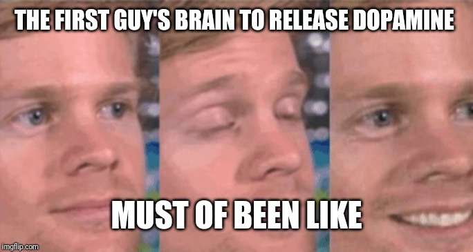 THE FIRST GUY'S BRAIN TO RELEASE DOPAMINE MUST OF BEEN LIKE | image tagged in the first guy to | made w/ Imgflip meme maker