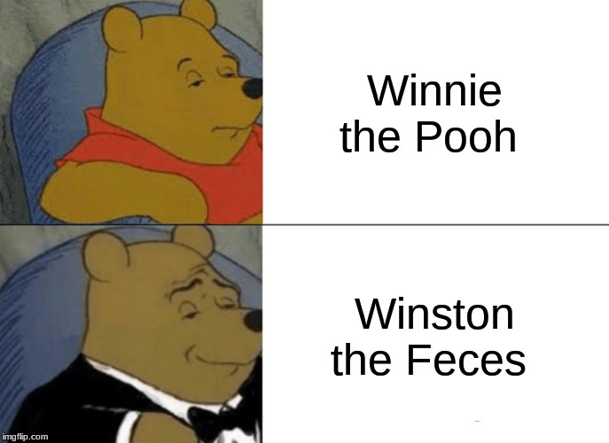 Tuxedo Winnie The Pooh Meme | Winnie the Pooh Winston the Feces | image tagged in memes,tuxedo winnie the pooh | made w/ Imgflip meme maker