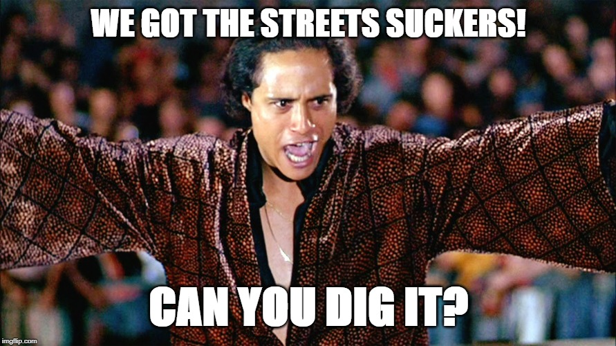 Cyrus | WE GOT THE STREETS SUCKERS! CAN YOU DIG IT? | image tagged in movie quotes | made w/ Imgflip meme maker
