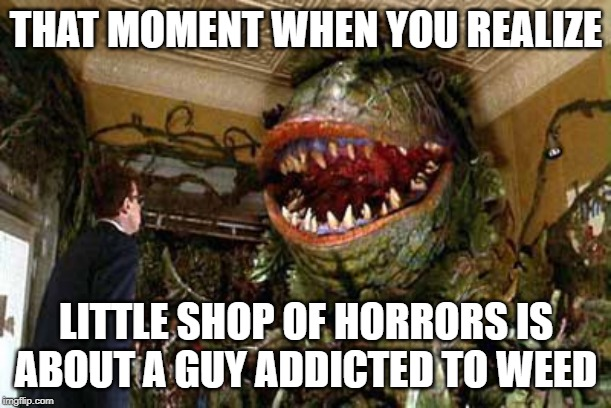 little shop of horrors | THAT MOMENT WHEN YOU REALIZE LITTLE SHOP OF HORRORS IS ABOUT A GUY ADDICTED TO WEED | image tagged in little shop of horrors | made w/ Imgflip meme maker