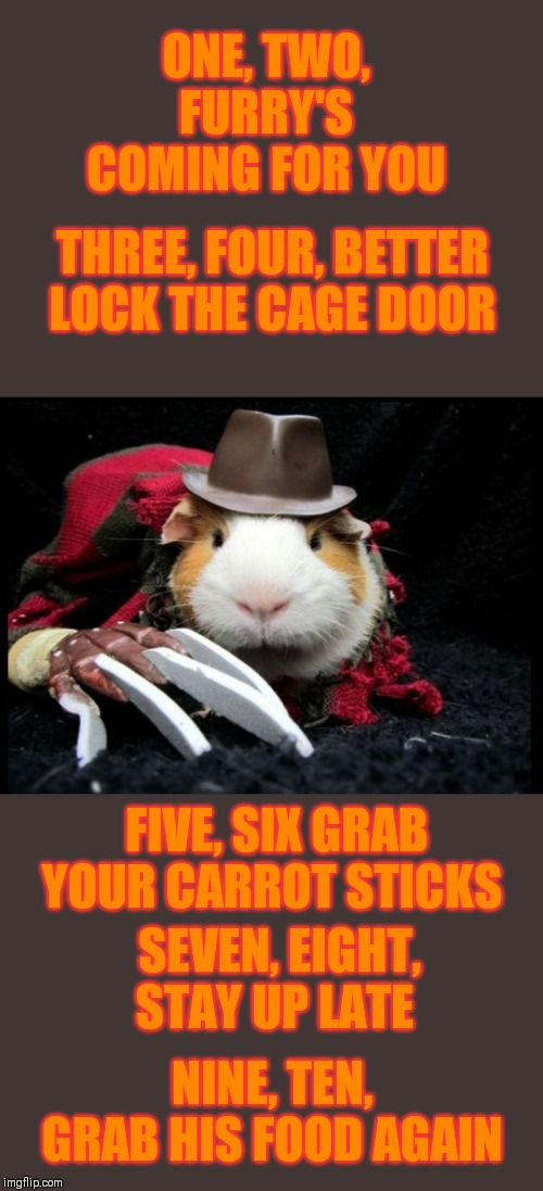 Furry Krueger | ONE, TWO, FURRY'S COMING FOR YOU THREE, FOUR, BETTER LOCK THE CAGE DOOR FIVE, SIX GRAB YOUR CARROT STICKS SEVEN, EIGHT, STAY UP LATE NINE, T | image tagged in memes,freddy krueger,nightmare on elm street,44colt,halloween,hamster | made w/ Imgflip meme maker