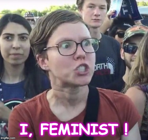 I, FEMINIST ! | image tagged in triggered feminist | made w/ Imgflip meme maker