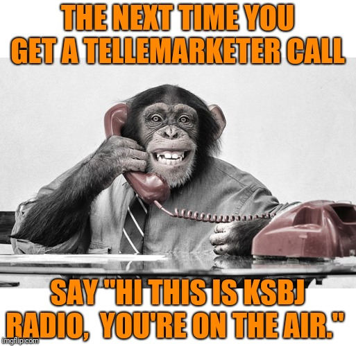 "Works much better than a do not call list |  THE NEXT TIME YOU GET A TELLEMARKETER CALL; SAY ""HI THIS IS KSBJ RADIO,  YOU'RE ON THE AIR."" 