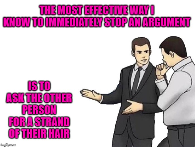 Try it...it works!!! | THE MOST EFFECTIVE WAY I KNOW TO IMMEDIATELY STOP AN ARGUMENT IS TO ASK THE OTHER PERSON FOR A STRAND OF THEIR HAIR | image tagged in memes,car salesman slaps hood,ending an argument,funny,hair,voodoo | made w/ Imgflip meme maker
