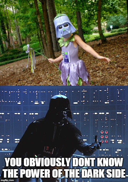 VADER PRINCESS? | YOU OBVIOUSLY DONT KNOW THE POWER OF THE DARK SIDE | image tagged in darth vader - come to the dark side,darth vader,halloween is coming | made w/ Imgflip meme maker