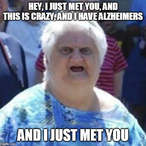 WAT Lady |  HEY, I JUST MET YOU, AND THIS IS CRAZY, AND I HAVE ALZHEIMERS; AND I JUST MET YOU | image tagged in wat lady | made w/ Imgflip meme maker