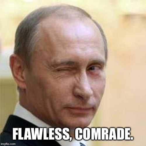 FLAWLESS, COMRADE. | image tagged in putin winking | made w/ Imgflip meme maker