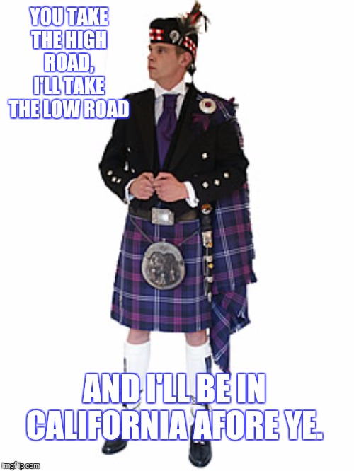Scotsman | YOU TAKE THE HIGH ROAD, I'LL TAKE THE LOW ROAD AND I'LL BE IN CALIFORNIA AFORE YE. | image tagged in scotsman | made w/ Imgflip meme maker